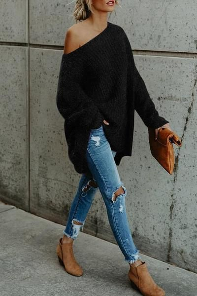 One Shoulder Loose Fitting Plain Sweaters – #chic #Fitting #Loose #Plain #Should… #LässigesOutfit