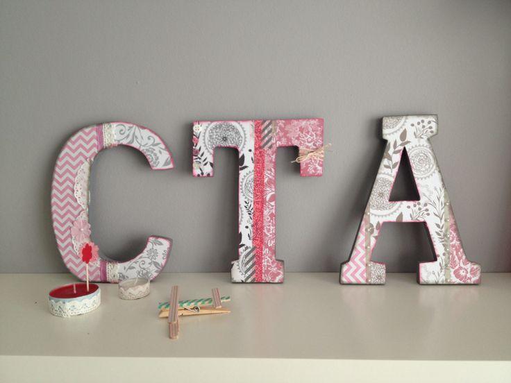 Letras de madera decoradas con papel letras pinterest - Casa letras madera ...