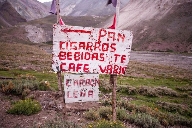 Sign in the Andes Mountains in a Remote Area Miles Outside of San Jose De Maipo, Chile