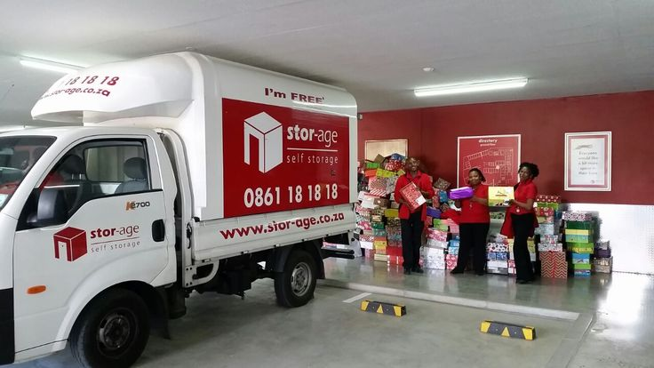 Stor-Age staff packing all the Santa Shoeboxes into our vans and getting ready to deliver them to the CTICC
