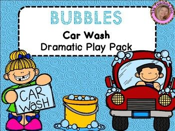 Car Wash Dramatic Play PackThis pack contains everything you will need to set up a dramatic play Bank in your classroom!Included:-Open/Closed signs (small and large)Bubbles Car Wash Sign (2 versions)-Please Pay Here sign-Credit Cards-Play Money-Word cards-Car Washer sign-Manager sign-Message Board-2 Store Hours signs (one prefilled and one with blank lines)-Please Fill Out a Form sign-Price List-Forms -I washed my (car, truck, van, bus).