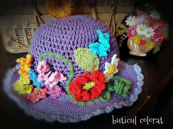Crochet sun hat poppy daisy butterfly crochet by ButiculColorat