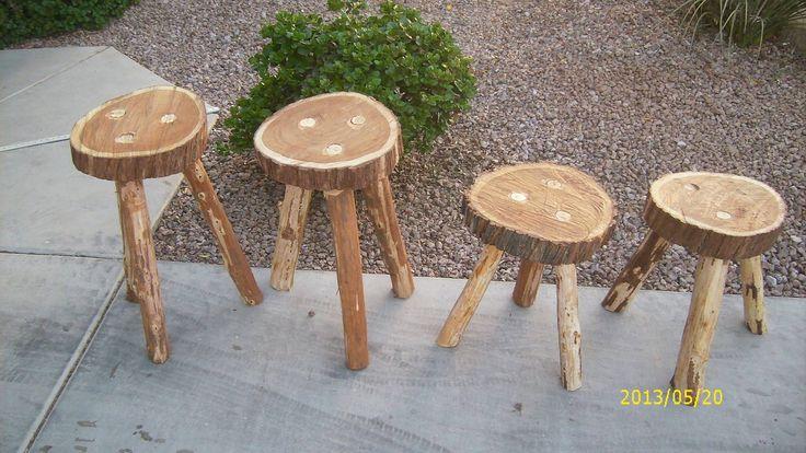 Log cabin style stools, $120 for children's set unfinished