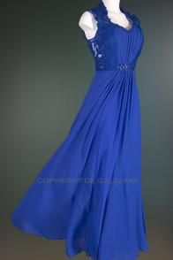 Koningsblauwe galajurk met kanten details 2818
