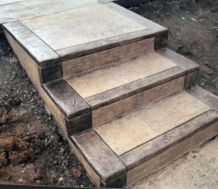 Stamped Cement Stairs ~ Stained Cement Stairs. Love this design for concrete stairs!