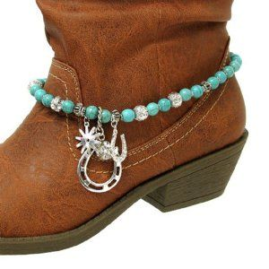 Boot Charms 076 24 Bead Western Silver Plated Turquoise Arif's Collection. $19.95. Anklets. boot charm