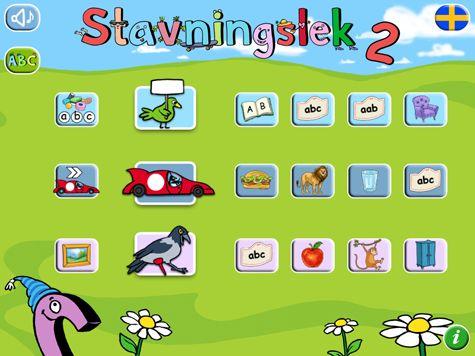 Stavningslek 2 är en svenskproducerad pedagogisk app som lär ut stavning av mer än 350 substantiv, på 8 olika språk. I appen får barnen öva på kopplingen mellan språkljud (fonem) och bokstäver (grafem). Appen använder ljudande bokstäver samt både långa och korta vokaler vilket är mycket viktigt när barn skall lära sig ljuda ihop bokstäver till ord på rätt sätt.