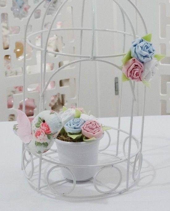 Gaiola com vaso, passarinho e flores - Infinita Arte for Baby