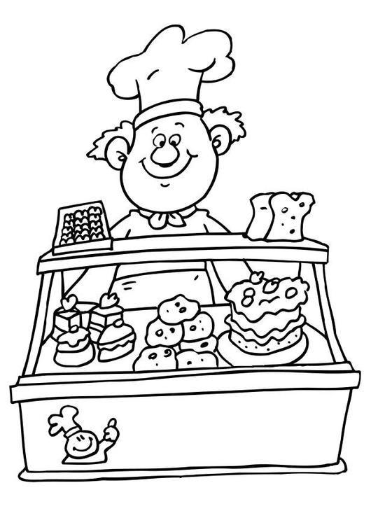 Bilde å fargelegge baker. Barn lærer om baker mens de fargelegger   Bilder til bruk i skole og utdanning - bil 6476.
