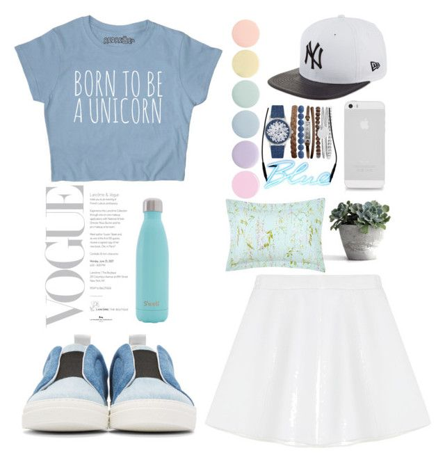 Blue and white by jihan-heryawan on Polyvore featuring polyvore fashion style RED Valentino Pierre Hardy Jessica Carlyle AT&T New Era Deborah Lippmann Yves Delorme Seletti S'well clothing