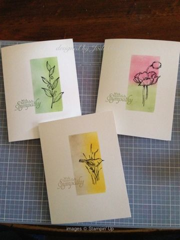 handmade sympathy note card trio from something about stamping ... one layer ... sponged block ... line art ... Stampin' Up!