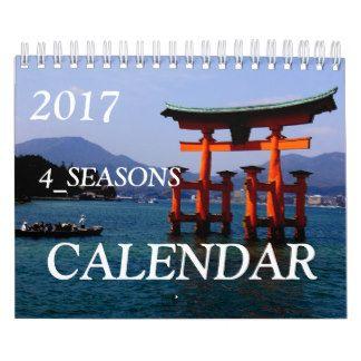 日本の四季とりどりな写真たち☆トップ写真は、宮島の大鳥居☆2017年カレンダー☆アメリカ向け カレンダー