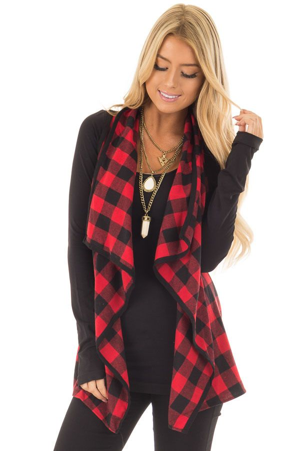 Lime Lush Boutique - Red and Black Plaid Open Drape Vest, $34.99 (https://www.limelush.com/red-and-black-plaid-open-drape-vest/)