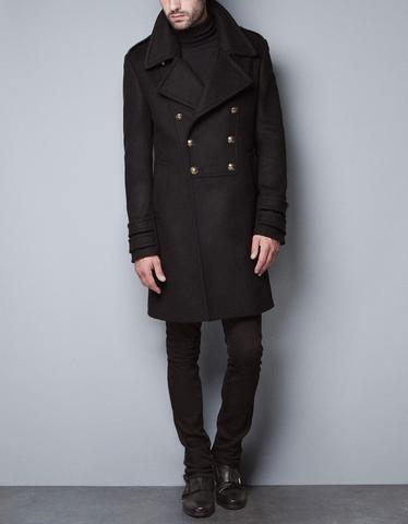 Black Military Coat -