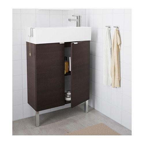 Badkamer Kast Onder Wastafel.Lillangen Kastje Voor Onder Wastafel 2 Deuren Zwartbruin Badkamer