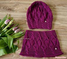 Шапка и снуд для девочки спицами. Связать красивый комплект шапку и шарф спицами | Handmade24