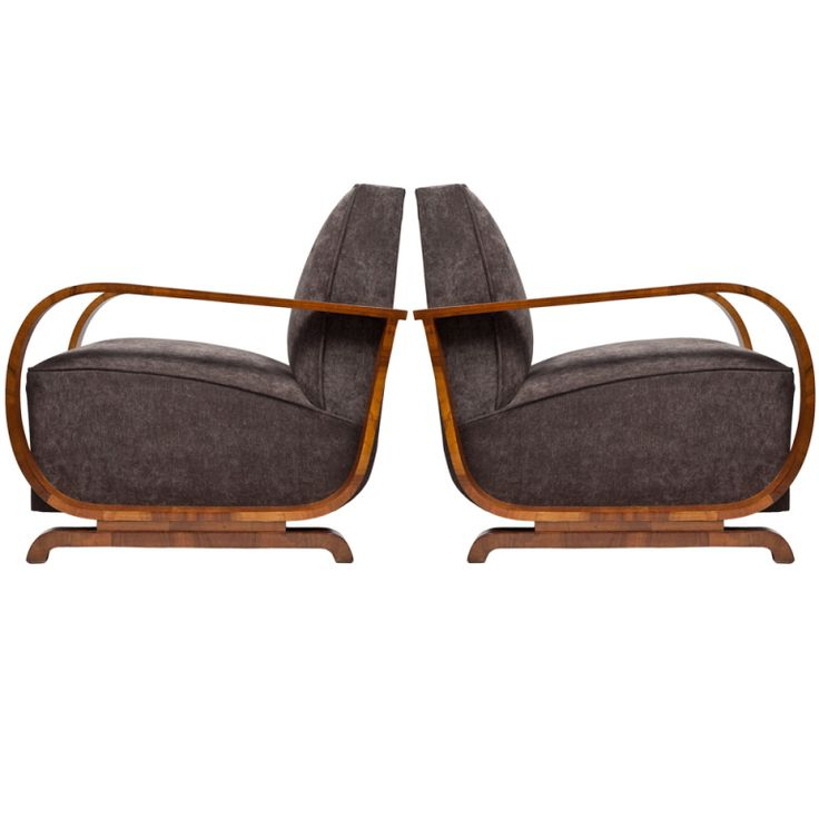 Austrian Art Deco Period, Burled Walnut Armchairs, ca 1930's