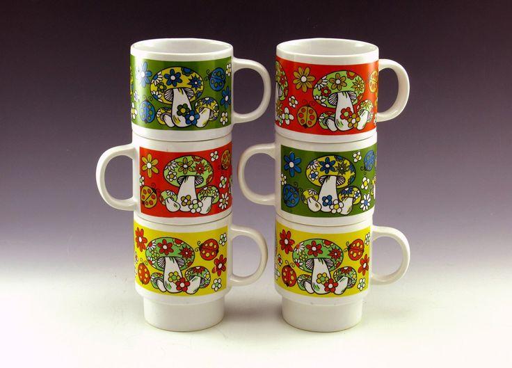 Vintage Mushroom Decor Coffee Mug Set of Six 1960s Attention Mushroom Lovers!