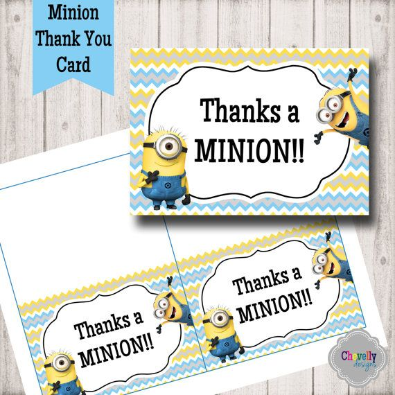 Minion Printable Thank You Card TY005 by ChevellyDesigns ...