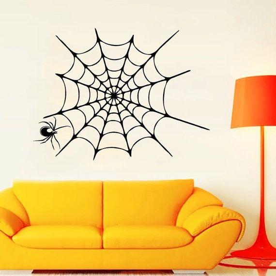Spider in a Web Vinyl Halloween Sticker Home Interior Design Art Murals Kids Room Decor Sticker Decal size 22x22 Color