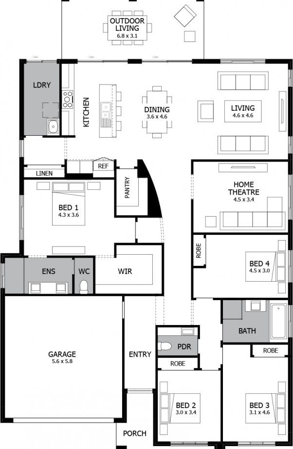 Mojo Homes - Atrium - Floor plan Swap bed 2/3/4 with theatre. Add loft above bedrooms