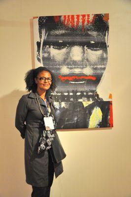 Valerie Oka and Painting - Photo by Evangeline Kim