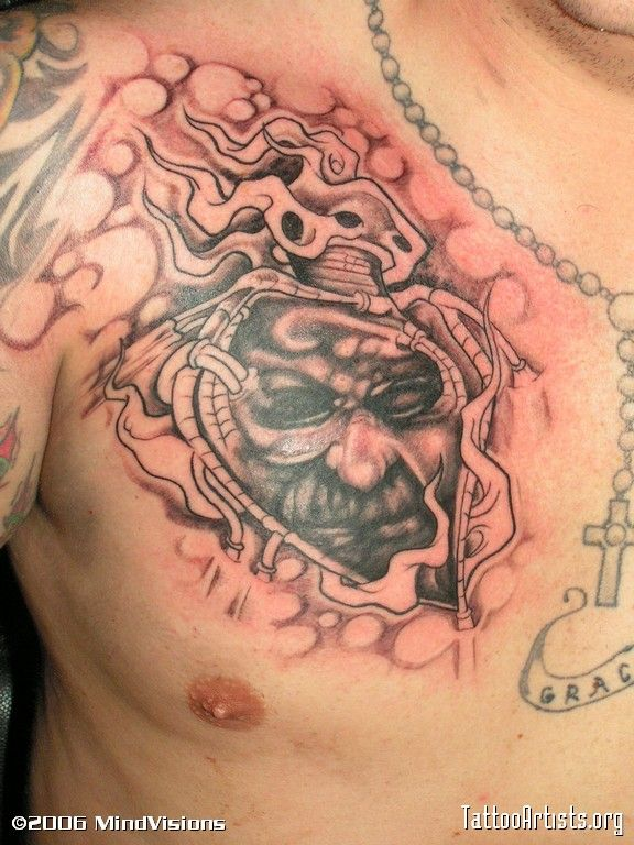 biomechanical heart tattoo - photo #15