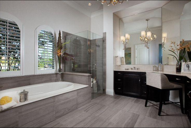 My favorite master bath design gray tone tiles dark for Master bathroom grey tile
