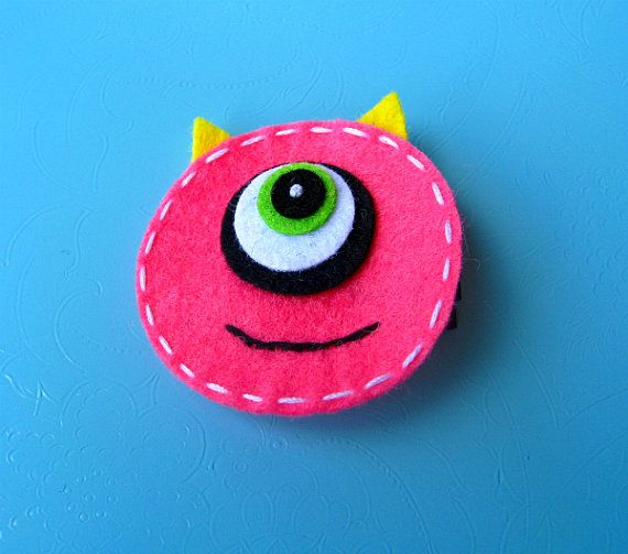 Halloween Felt Hair Clip Playful Monster by extrafrostingplease, $4.00