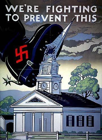 In majority of countries you would see tons of propaganda posters like this one. These were designed to show people Hitler's ability to destroy everything he came in contact with. The army wanted people to know they were fighting to ensure safety on the home front if they did as planned. If not, get ready for other conclusions. This source however was not at all creditable. The picture itself was fine but the website it was linked to had no information on the source.
