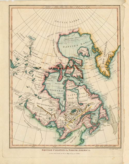 British Colonies in Canada - Hudson Bay -uncommon Arctic 1797 map. Very uncommon map showing British claims after the end of the Revolutionary War. The map shows an unusual configuration of interconnected lakes and rivers leading to Mackenzie Bay (The Sea) at the top.  $450 USD