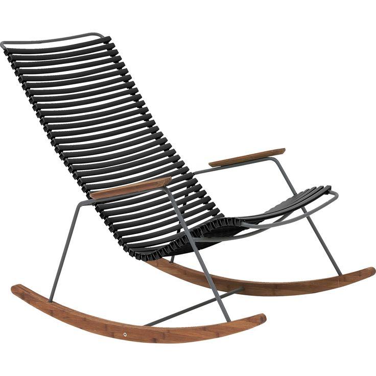 Relax! Click stoel 'URBAN OUTDOOR'van Ilva. Met plastic lamellen en bamboe armleuningen.