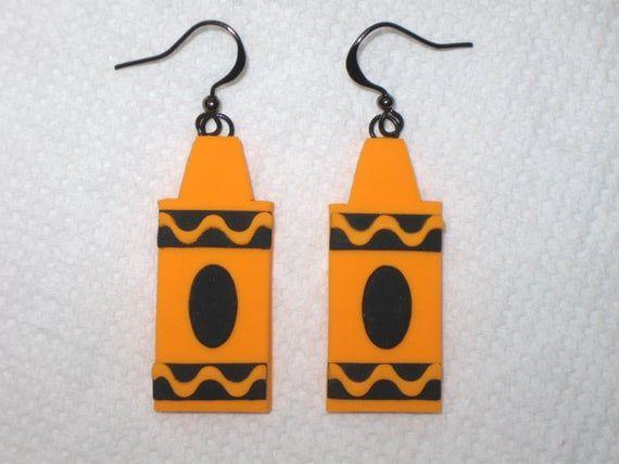 White Crayon Earrings,Crayon Earrings,School Earrings,Teacher Earrings,Gift Earrings,Artist Earrings,Crayon Jewelry,Teacher Gift,Kid Crayons