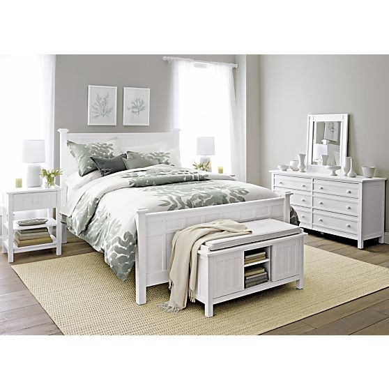 Brighton White King Bed. I like this bed because it would compliment my ideal beach style home. Plus I love Crate & Barrel. I might go for a blue bedspread though.