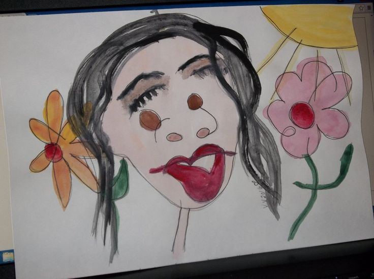 blind drawing painting art by ValV sunny day smiles