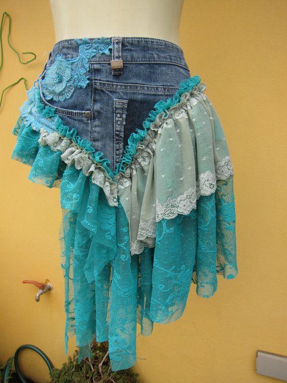 "BURNING MAN denim and lace.calvin klein jeans...bustle belt..34"" across.."