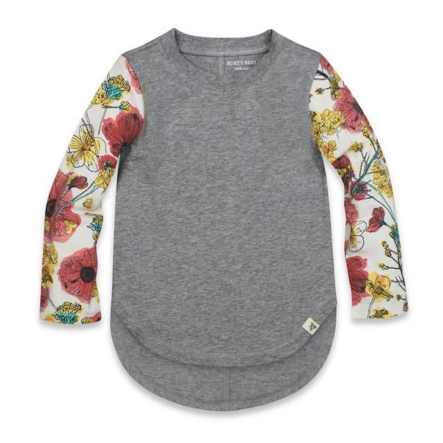 product image for Burt's Bees Baby® Poppy Organic Cotton Long Sleeve T-Shirt in Grey