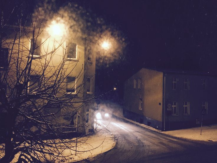 #Night #winter #car #town #project #snow #shadow #street #window