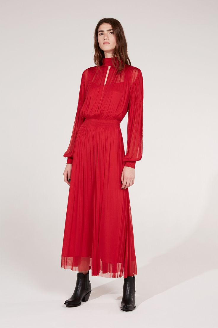 Red Silk Tulle Midi Dress | Dresses | Amanda Wakeley | Amanda Wakeley