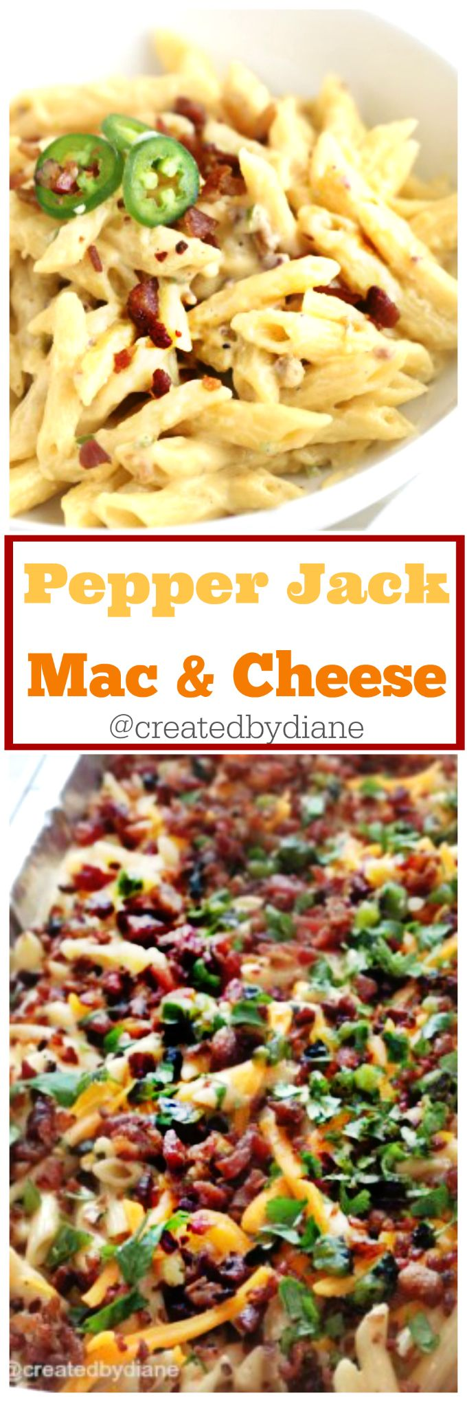 Mac and Cheese gets a little spicy with pepper-jack cheese and roasted jalapeños and is topped off with crunchy bacon.