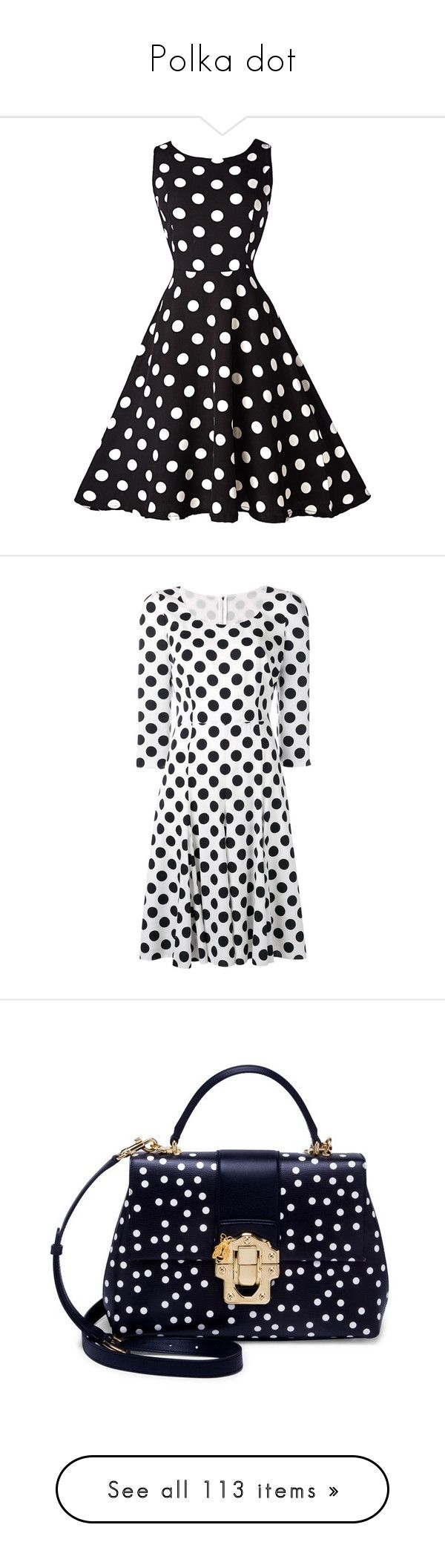 """""""Polka dot"""" by tina-teena ❤ liked on Polyvore featuring dresses, vestidos, black, vintage a line dresses, swing dress, black and white dress, black and white vintage dress, polka dot dresses, kirna zabete and kzloves /"""