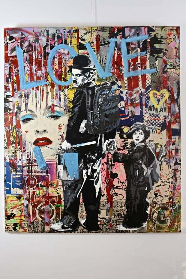 Charlie Chaplin and Child, by Mr. Brainwash, pop art, #streetart #graffiti