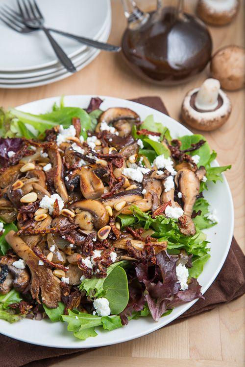 Warm Mushroom Salad *butter, mushrooms, onion, garlic, thyme, white wine or broth, salad greens, balsamic, sundried tomatoes, pine nuts, goat CHEESE