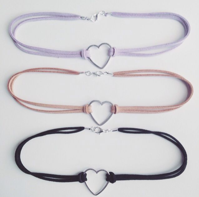 Hollow Heart Faux Suede Chokers