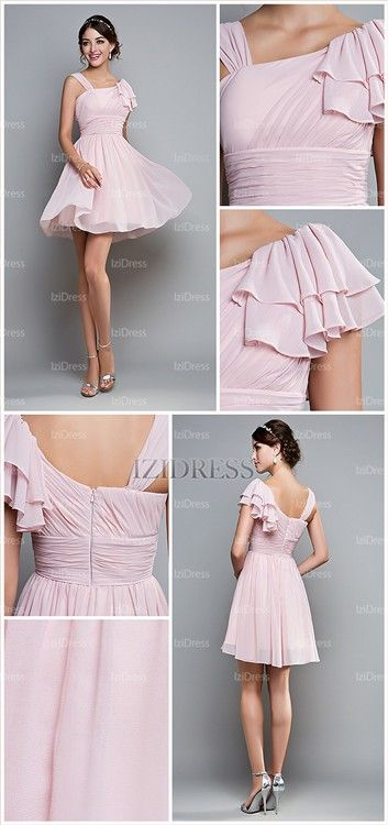 A-Line/Princess One Shoulder Chiffon Prom Dress - IZIDRESSES.com (cute but too short for me (for prom))