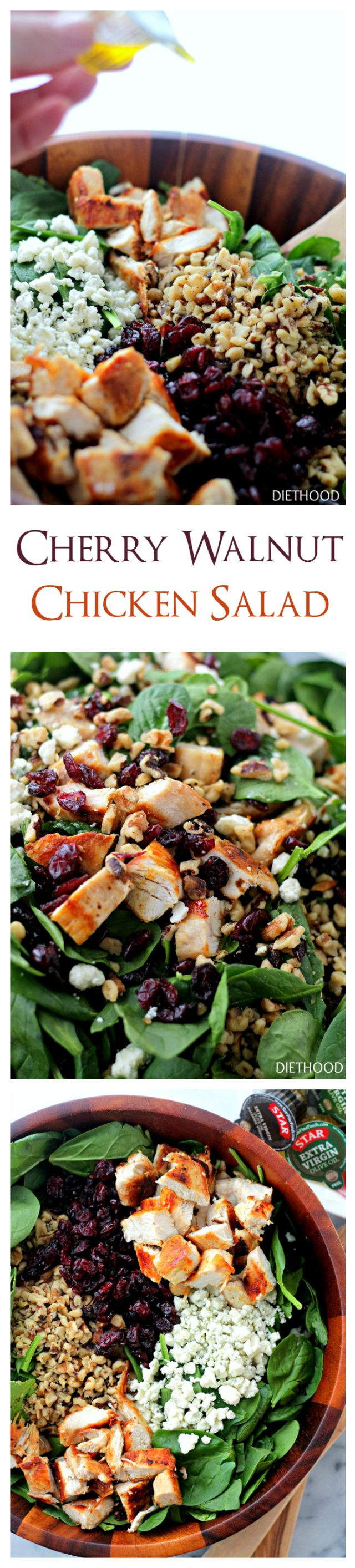 Cherry Walnut Chicken Salad - Delicious chicken salad featuring a combination of dried cherries, walnuts and baby spinach tossed with a simple olive oil and vinegar dressing.