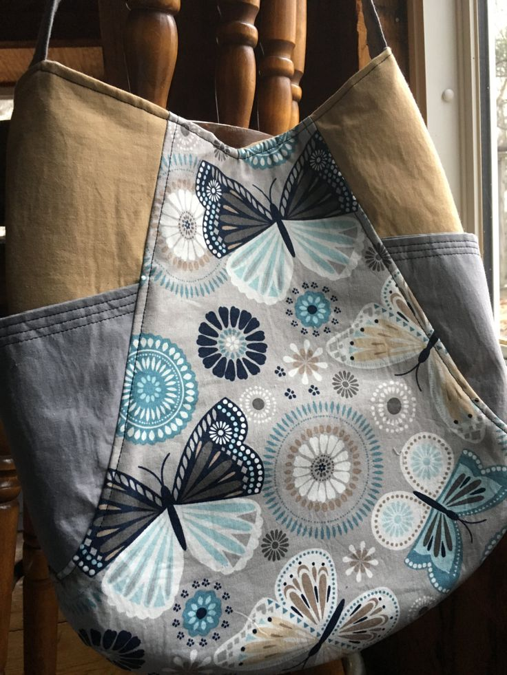 Butterfly shoulder bag in blue, tan, and gray, small purse with pockets by heartofautumn on Etsy