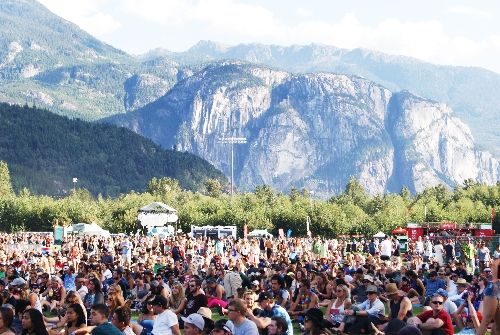 View of the Stawamus Chief mountain from the festival venue