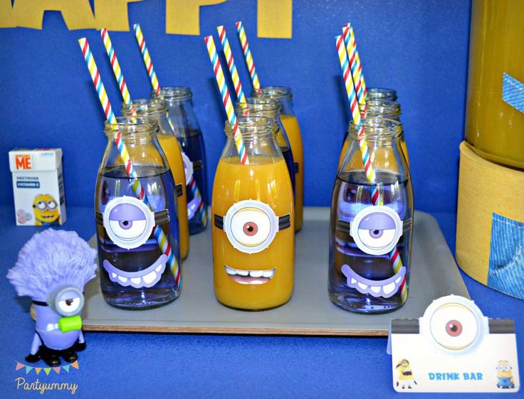 Milk bottle drinks at a Despicable Me Minions birthday party! See more party ideas at CatchMyParty.com!