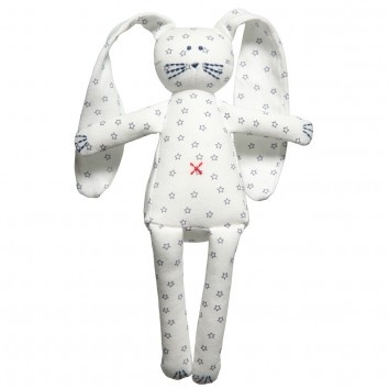 Petit Bateau White Star Print Rabbit Dou Dou (27cm) at Childrensalon.com